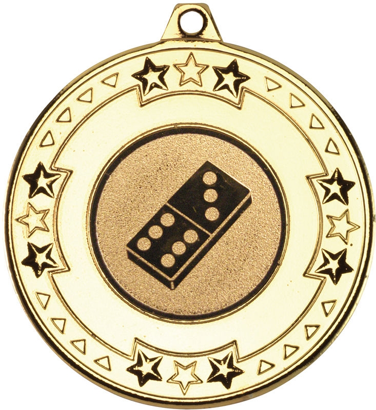 "Gold Star & Pattern Medal with 1"" Domino Centre Disc 50mm (2"")"