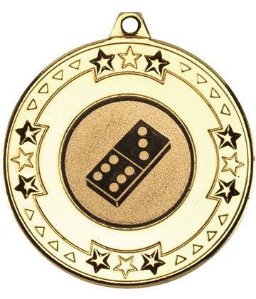 """Gold Star & Pattern Medal with 1"""" Domino Centre Disc 50mm (2"""")"""