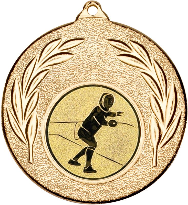 "Gold Leaf Medal with 1"" Fencing Centre Disc 50mm (2"")"