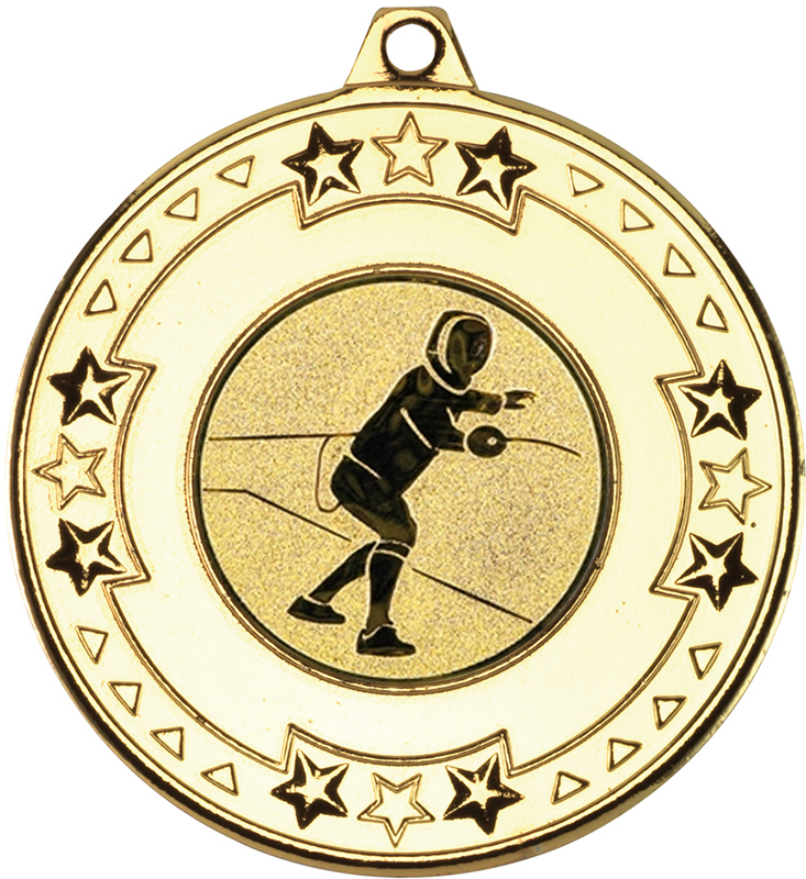 """Gold Star & Pattern Medal with 1"""" Fencing Centre Disc 50mm (2"""")"""