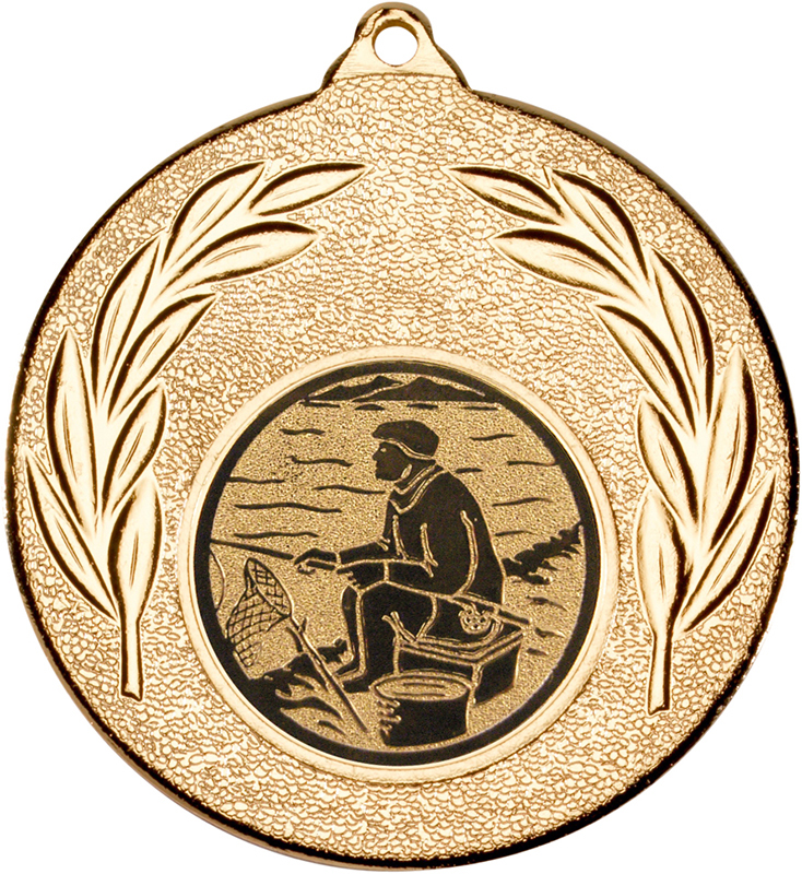 "Gold Leaf Medal with 1"" Fishing Centre Disc 50mm (2"")"