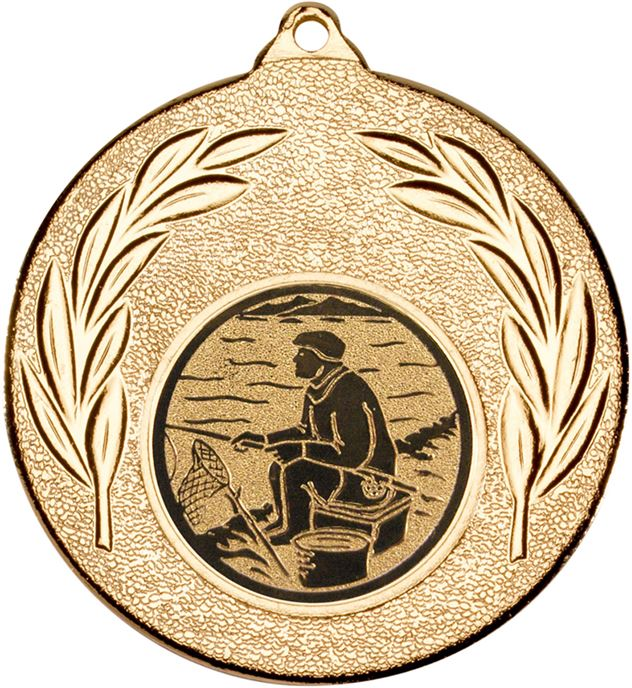 """Gold Leaf Medal with 1"""" Fishing Centre Disc 50mm (2"""")"""