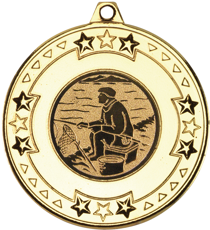 "Gold Star & Pattern Medal with 1"" Fishing Centre Disc 50mm (2"")"