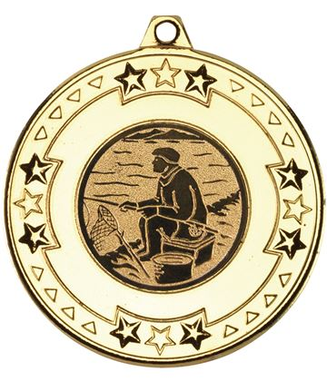 """Gold Star & Pattern Medal with 1"""" Fishing Centre Disc 50mm (2"""")"""