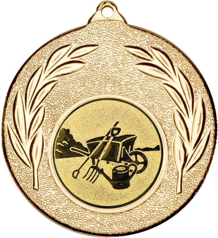 "Gold Leaf Medal with 1"" Gardening Centre Disc 50mm (2"")"