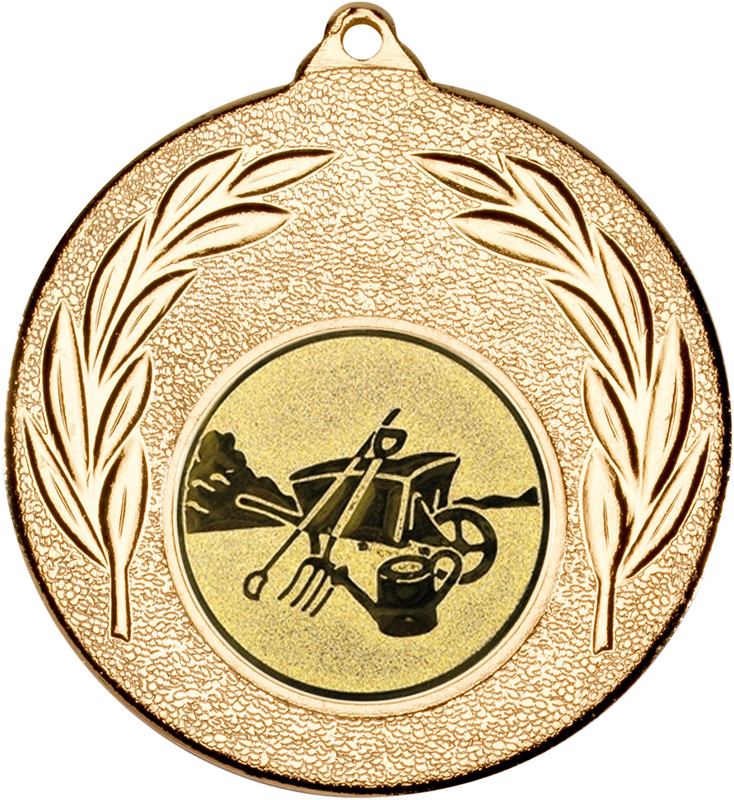 "Gold Leaf Medal with 1"" Gardening Centre Disc 50mm (2"")"