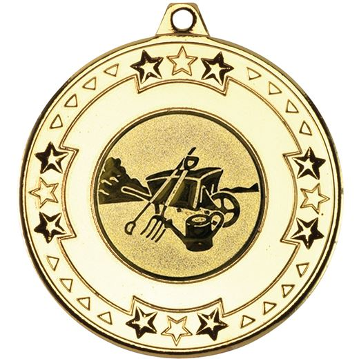 """Gold Star & Pattern Medal with 1"""" Gardening Centre Disc 50mm (2"""")"""