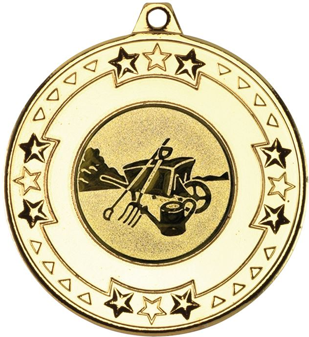 "Gold Star & Pattern Medal with 1"" Gardening Centre Disc 50mm (2"")"