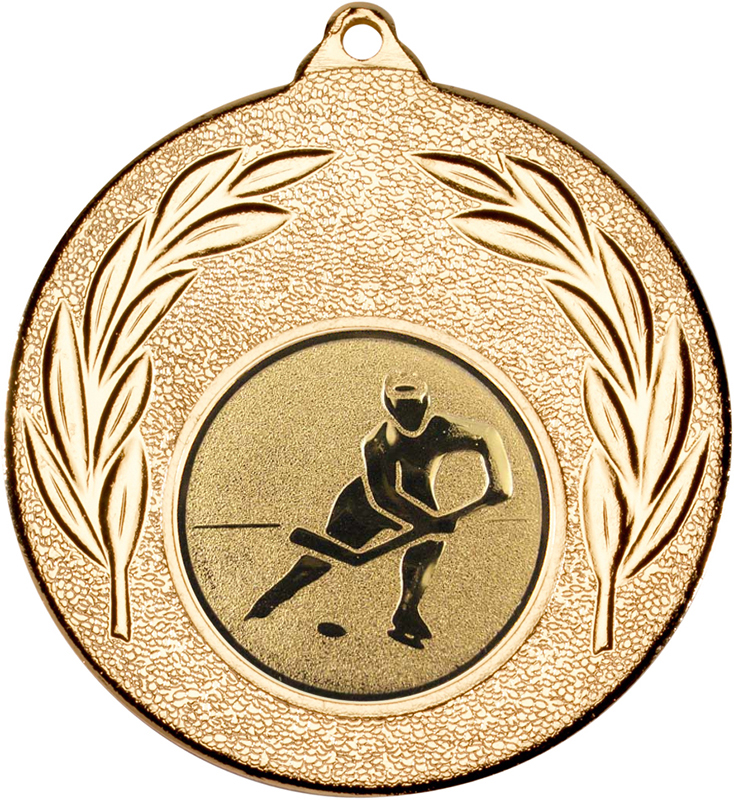 """Gold Leaf Medal with 1"""" Ice Hockey Centre Disc 50mm (2"""")"""