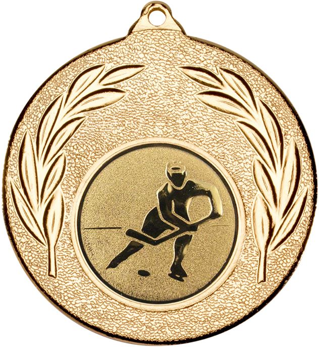 "Gold Leaf Medal with 1"" Ice Hockey Centre Disc 50mm (2"")"