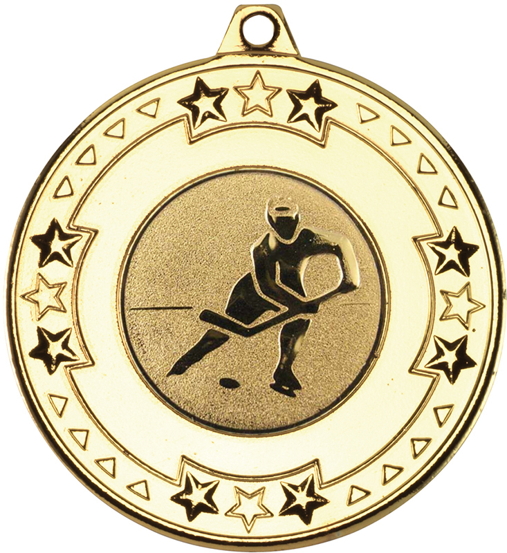 """Gold Star and Pattern Medal with 1"""" Ice Hockey Centre Disc 50mm (2"""")"""