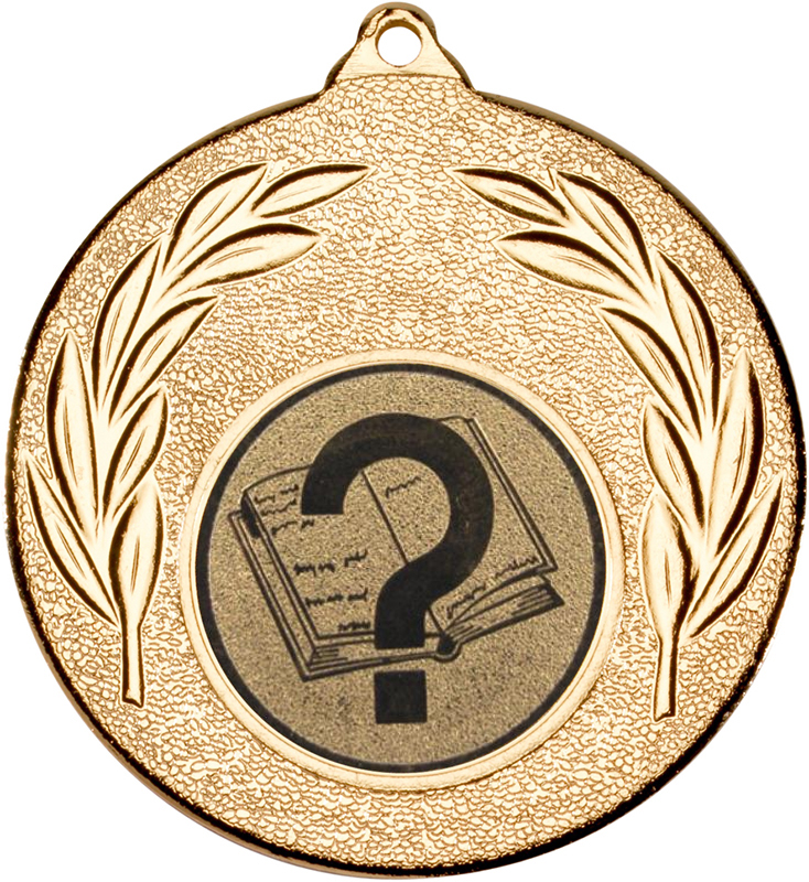 "Gold Leaf Medal with 1"" Quiz Centre Disc 50mm (2"")"