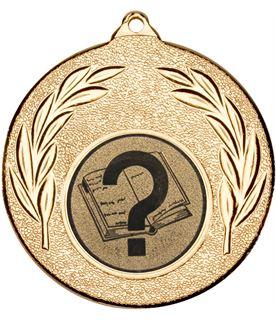 "Gold Leaf Medal with 1"" Quiz Centre Disc 50mm (2"")"