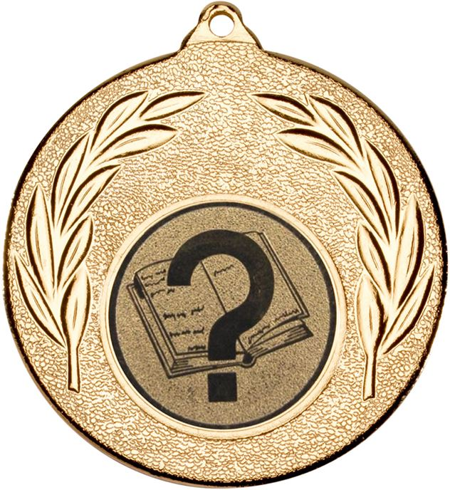 "Gold Leaf Medal with 1"" School Centre Disc 50mm (2"")"