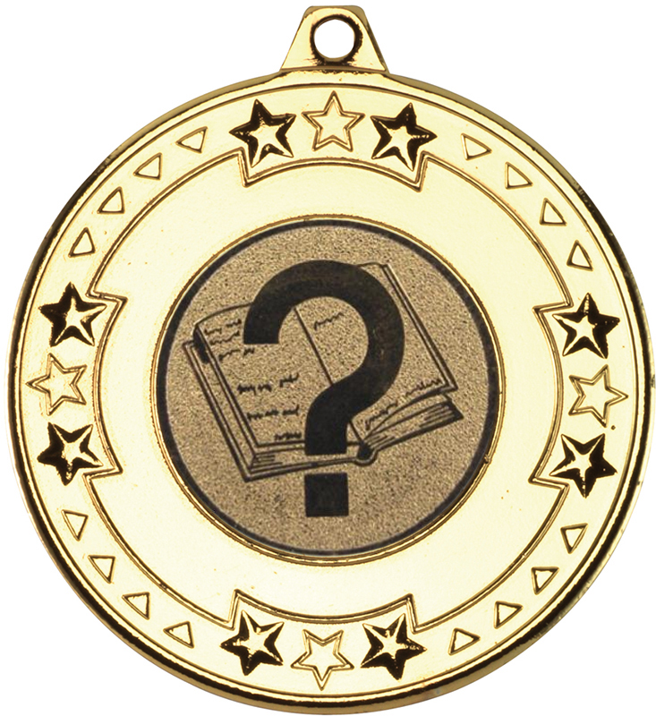 "Gold Star & Pattern Medal with 1"" Quiz Centre Disc 50mm (2"")"