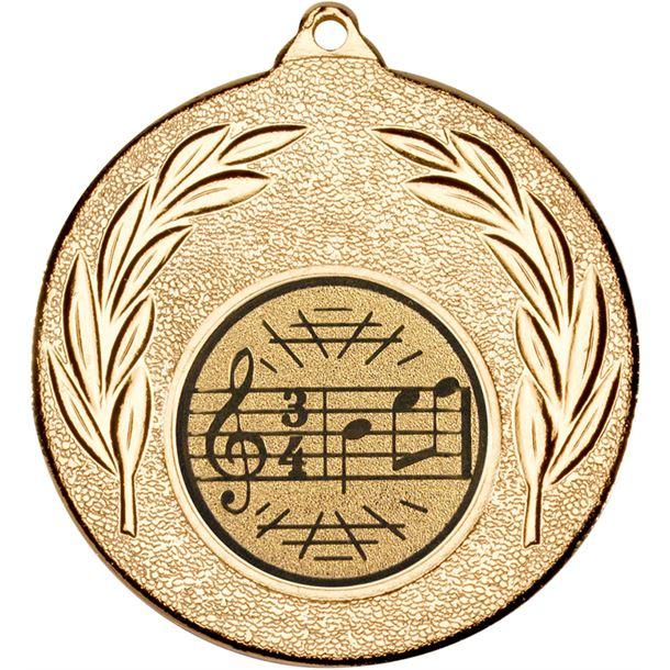 "Gold Leaf Medal with 1"" Singing/Music Centre Disc 50mm (2"")"