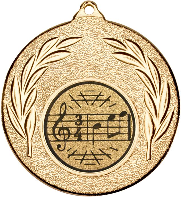 "Gold Leaf Medal with 1"" Singing/Music Centre Disc 50mm (2"")"