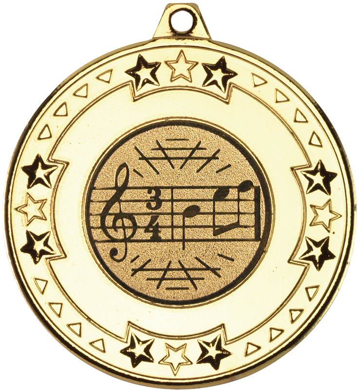 """Gold Star & Pattern Medal with 1"""" Singing/Music Centre Disc 50mm (2"""")"""