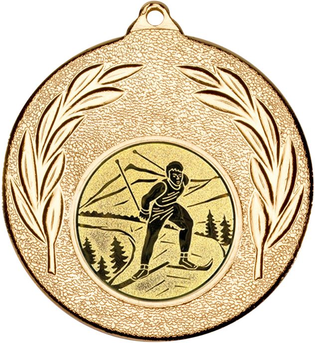 """Gold Leaf Medal with 1"""" Skiing Centre Disc 50mm (2"""")"""