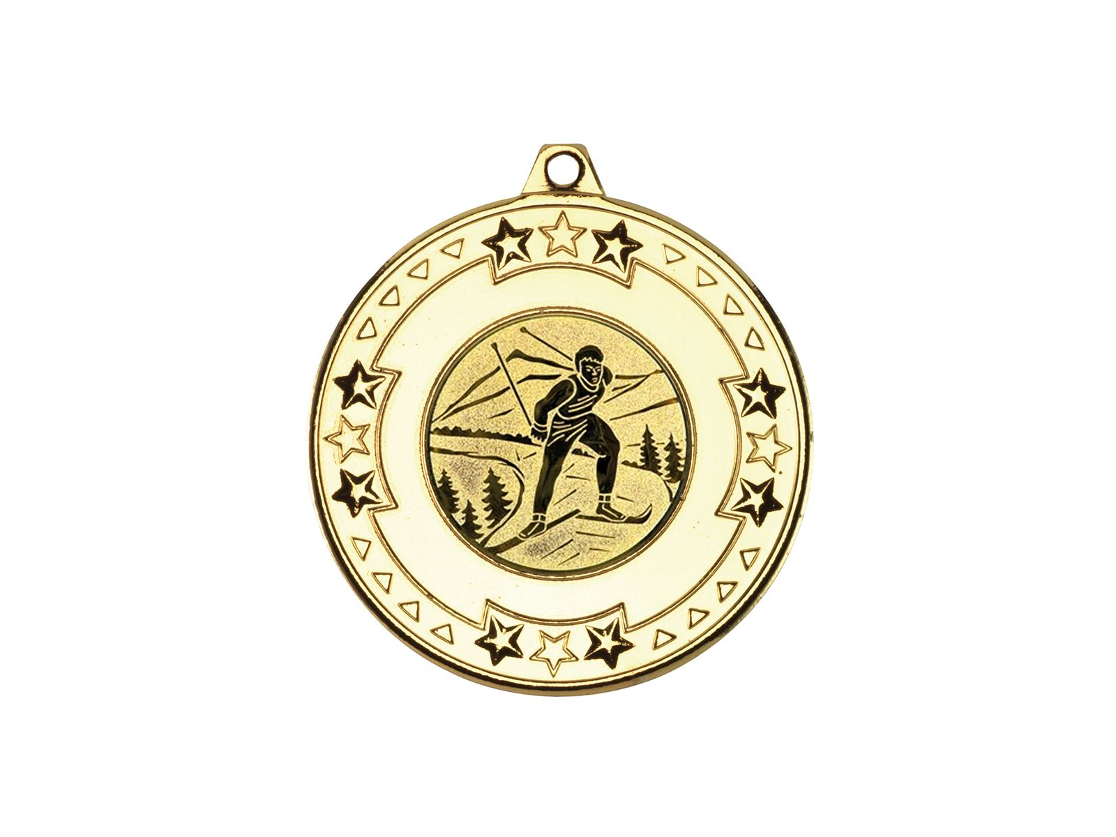 "Gold Star & Pattern Medal With 1"" Skiing Centre Disc 50mm (2"""