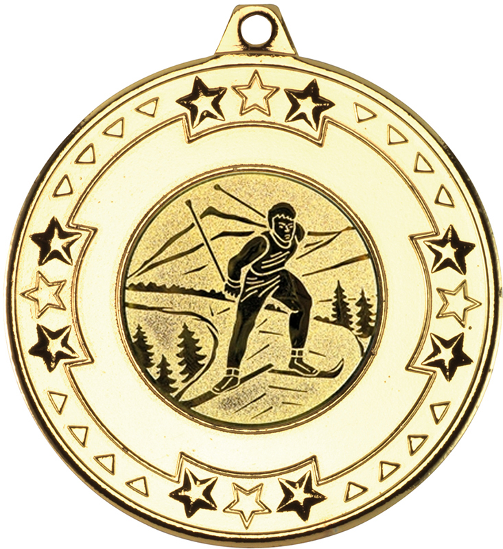 """Gold Star & Pattern Medal with 1"""" Skiing Centre Disc 50mm (2"""")"""