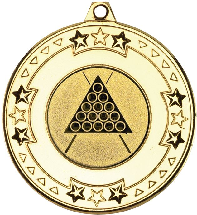 "Gold Star & Pattern Medal with 1"" Snooker/Pool Centre Disc 50mm (2"")"