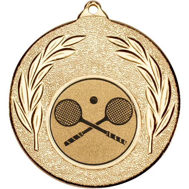 "Gold Leaf Medal with 1"" Squash Centre Disc 50mm (2"")"