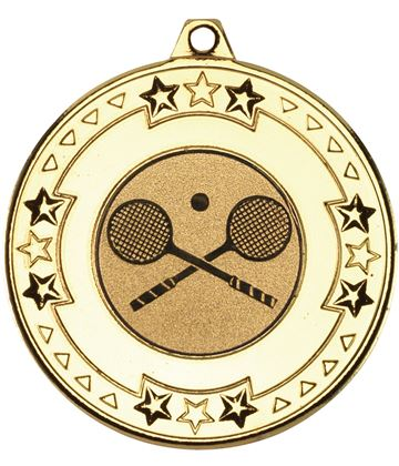 "Gold Star & Pattern Medal with 1"" Squash Centre Disc 50mm (2"")"