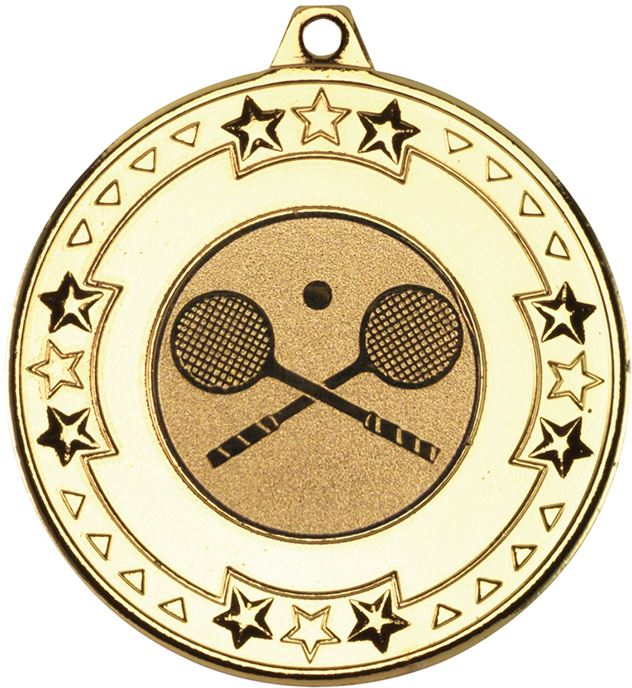 """Gold Star & Pattern Medal with 1"""" Squash Centre Disc 50mm (2"""")"""