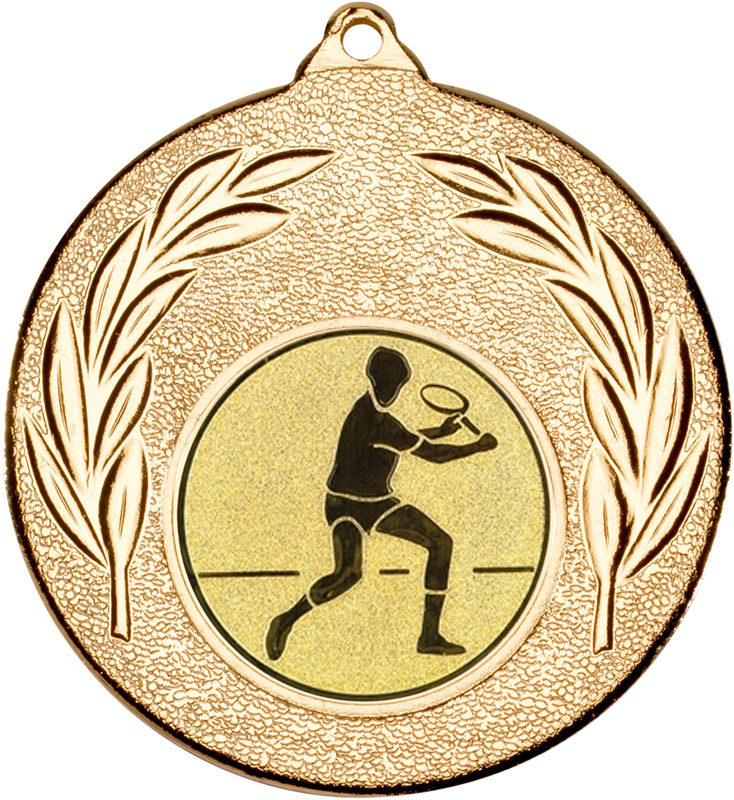 "Gold Leaf Medal with 1"" Squash Player Centre Disc 50mm (2"")"