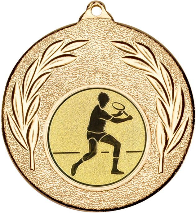 """Gold Leaf Medal with 1"""" Squash Player Centre Disc 50mm (2"""")"""