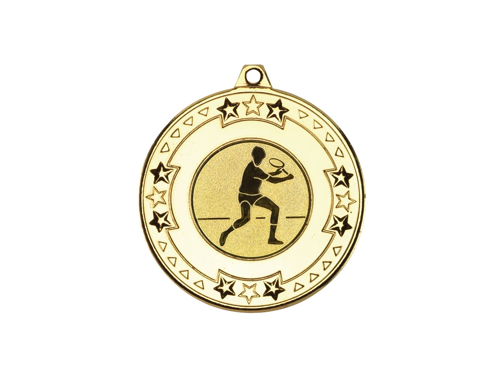 """Gold Star & Pattern Medal With 1"""" Squash Player Centre"""