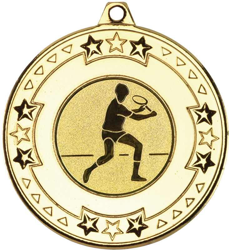 "Gold Star & Pattern Medal with 1"" Squash Player Centre Disc 50mm (2"")"