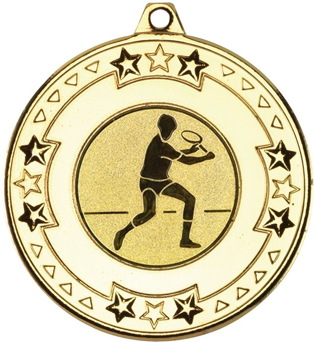 """Gold Star & Pattern Medal with 1"""" Squash Player Centre Disc 50mm (2"""")"""