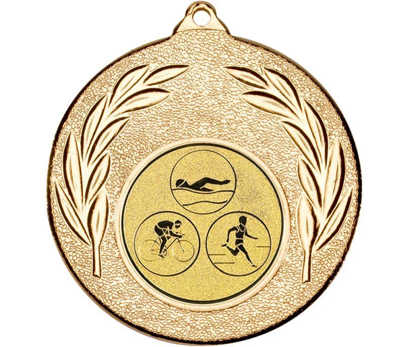 "Gold Leaf Medal with 1"" Triathlon Centre Disc 50mm (2"")"