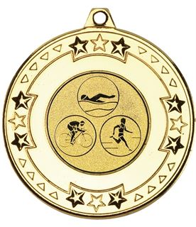 """Gold Star & Pattern Medal with 1"""" Triathlon Centre Disc 50mm (2"""")"""