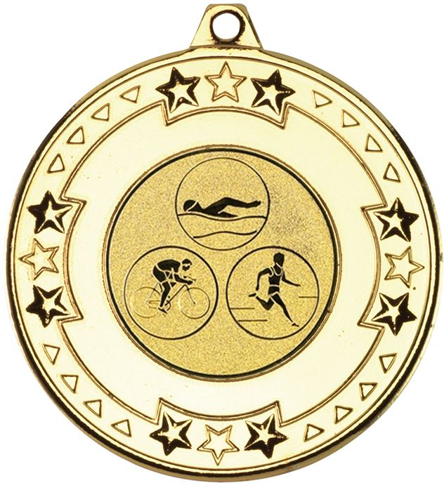 "Gold Star & Pattern Medal with 1"" Triathlon Centre Disc 50mm (2"")"