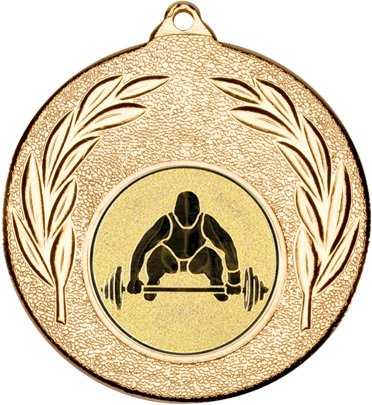 "Gold Leaf Medal with 1"" Weight Lifting Centre Disc 50mm (2"")"