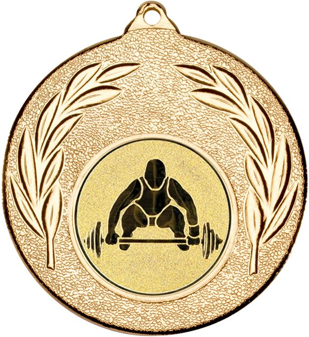"""Gold Leaf Medal with 1"""" Weight Lifting Centre Disc 50mm (2"""")"""