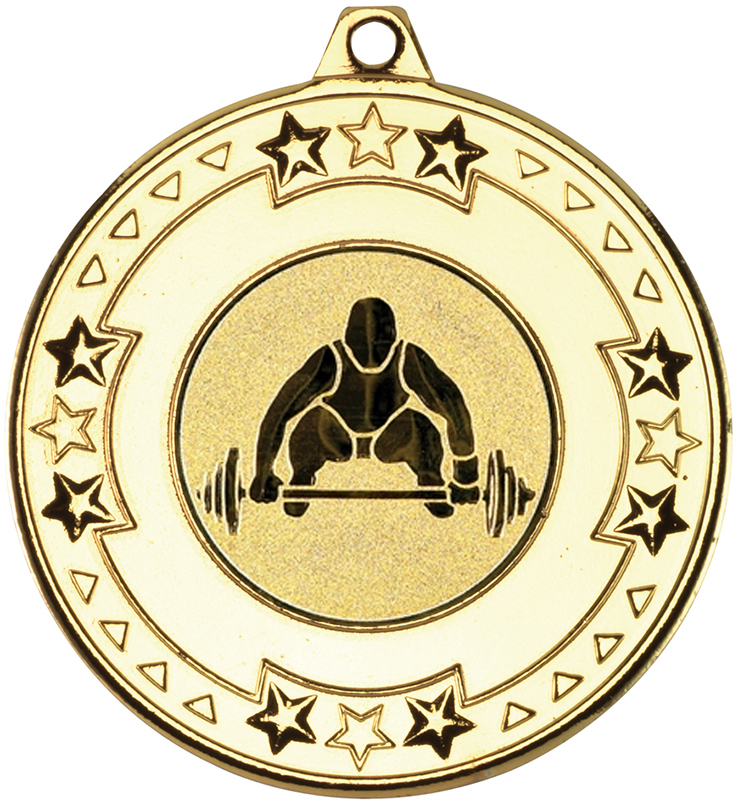 "Gold Star & Pattern Medal with 1"" Weight Lifting Centre Disc 50mm (2"")"
