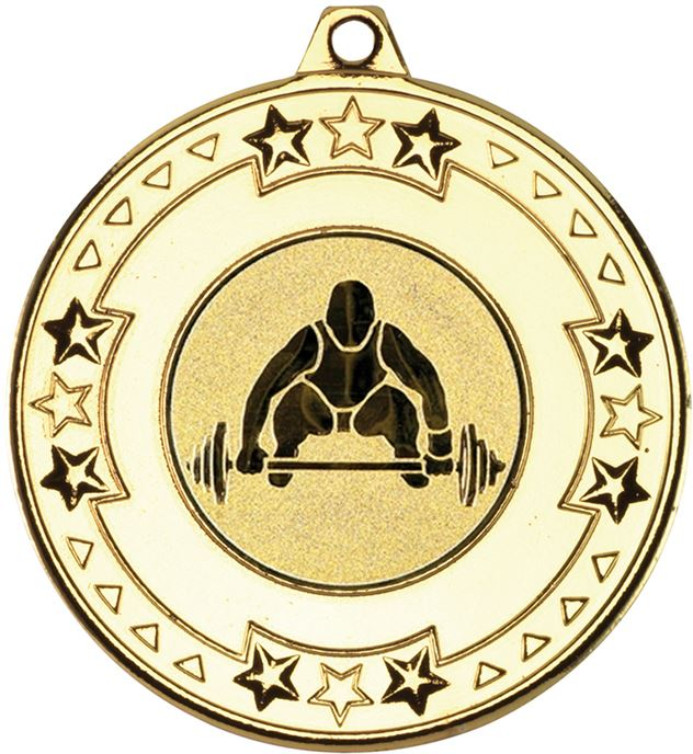 """Gold Star & Pattern Medal with 1"""" Weight Lifting Centre Disc 50mm (2"""")"""