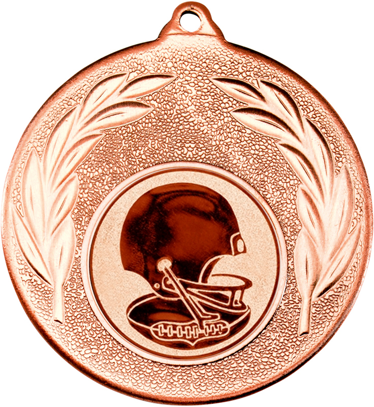 """Bronze Leaf Medal with 1"""" American Football Centre Disc 50mm (2"""")"""