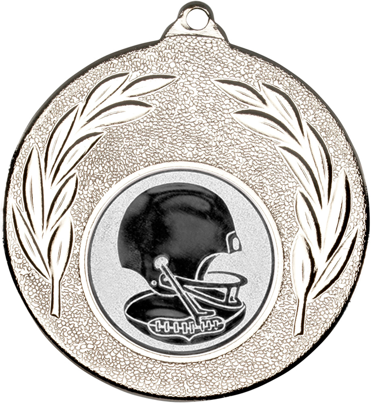 """Silver Leaf Medal with 1"""" American Football Centre Disc 50mm (2"""")"""