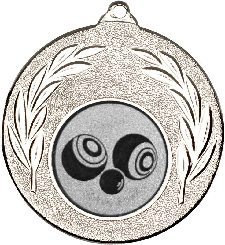 "Silver Leaf Medal with 1"" Bowls Centre Disc 50mm (2"")"