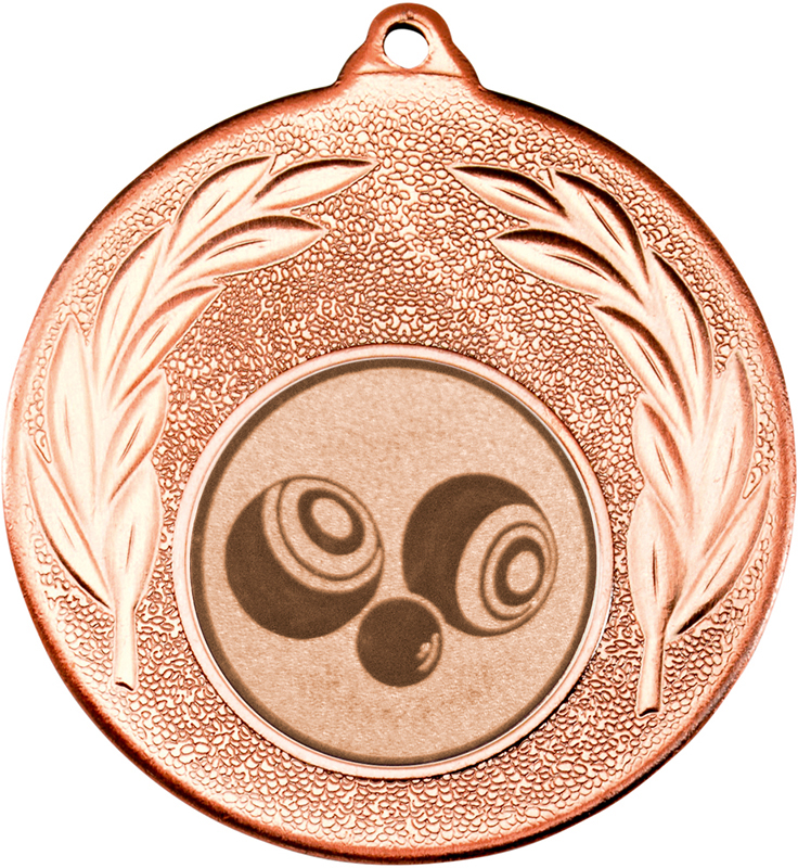 "Bronze Leaf Medal with 1"" Bowls Centre Disc 50mm (2"")"