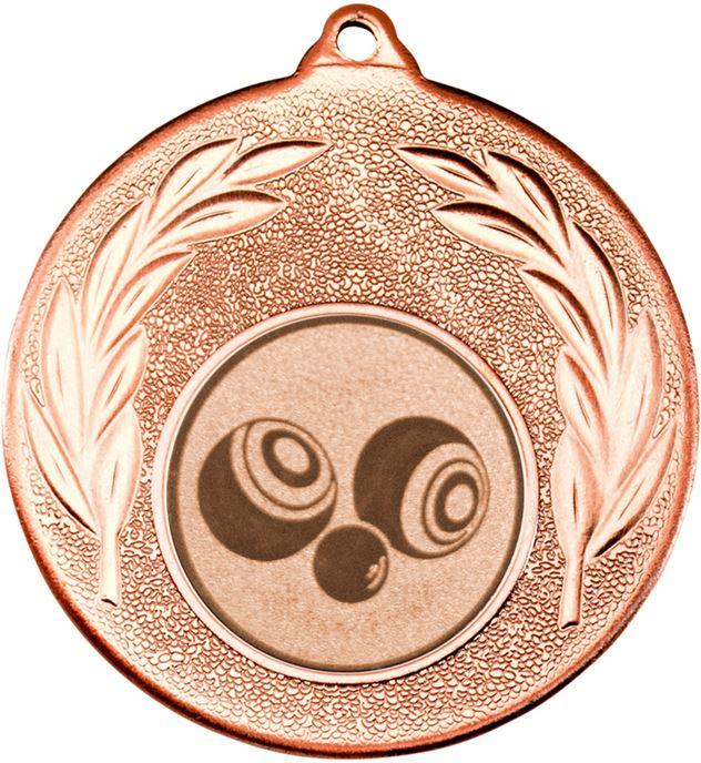 """Bronze Leaf Medal with 1"""" Bowls Centre Disc 50mm (2"""")"""