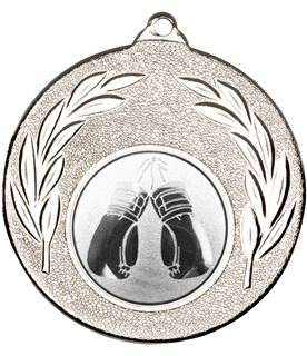 """Silver Leaf Medal with 1"""" Boxing Centre Disc 50mm (2"""")"""
