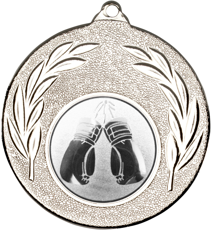 "Silver Leaf Medal with 1"" Boxing Centre Disc 50mm (2"")"