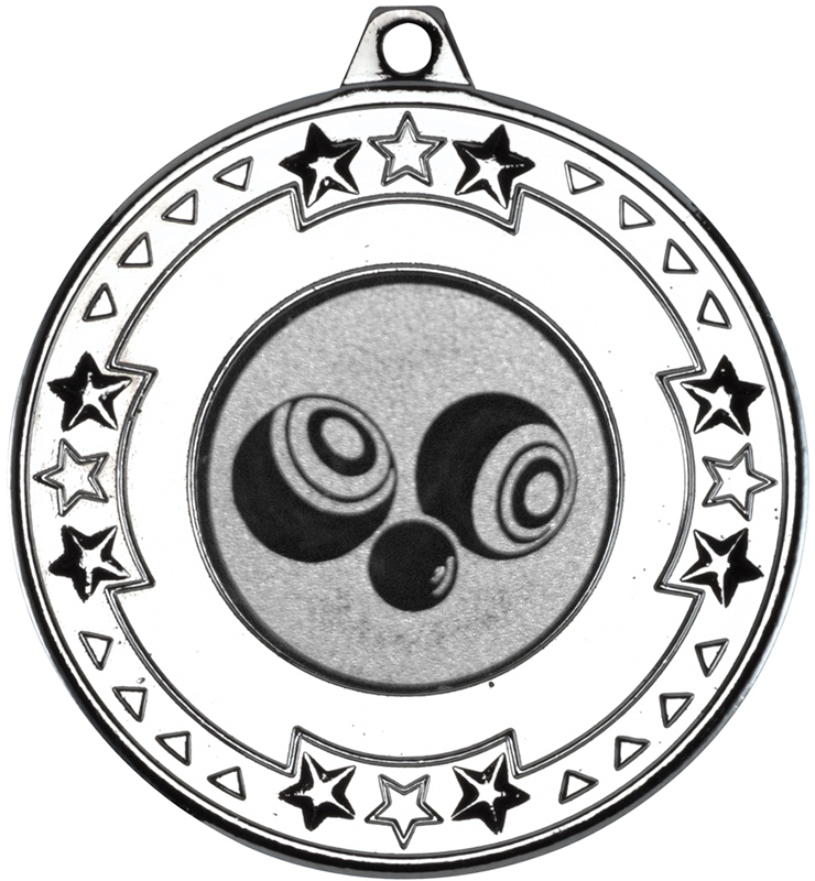 """Silver Star & Pattern Medal  with 1"""" Bowls Centre Disc 50mm (2"""")"""