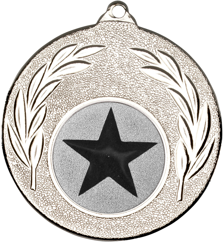 """Silver Leaf Medal with 1"""" Star Centre Disc 50mm (2"""")"""